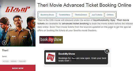 Their Advance Booking Ticket Opens Online, Vijay's Tamil Movie Theri @ BookMyshow, Ticketnew, Justickets