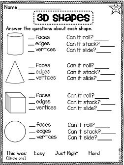 Name the 3D shapes and tell how many faces, edges and vertices it ...