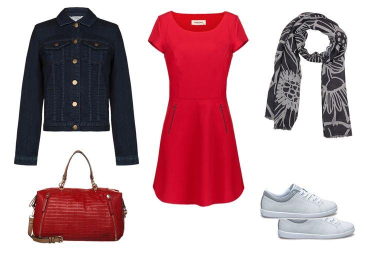 Working Girl : écharpe Lafayette Collection gris, Tennis/basket KAPPA blanc et Sac à main