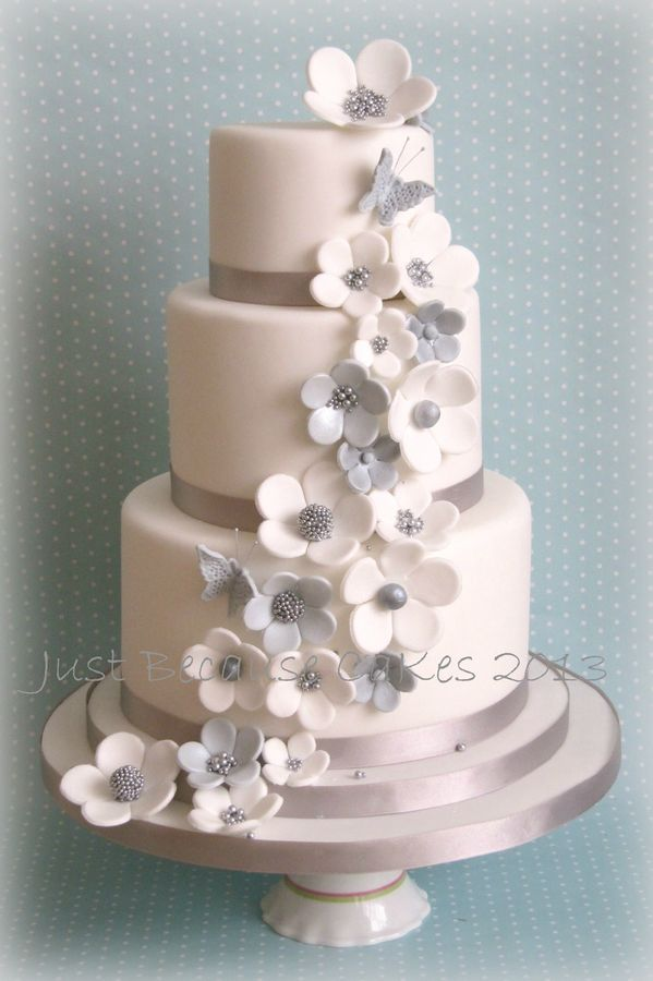 Daisy - Beautiful 3 tier wedding cake in silver and white by Just Because CaKes