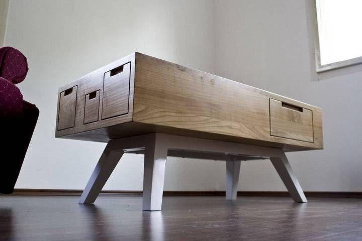 design möbel | 3 Integra alba massiv grob kubisch modern Schublade Holz Design Moebel Couchtisch Kaffeetisch Kirsche Schweiz