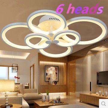 (WECUS) Особенное!! личность гостиной потолочный светильник, творческий моды светодиодные потолочные лампы, удачи кольцо серии, 6 головки