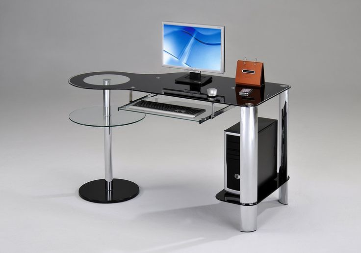 "Kings Brand Chrome / Black Temper Glass Computer Workstation Desk. Kings Brand Chrome / Black Temper Glass Computer Workstation Desk. Complete your home office with the of this executive-style computer desk. Chrome finish frame with black printed glass. Dimensions: 53.74"" x 23.82"" x 29.72""H . Simple assembly required."