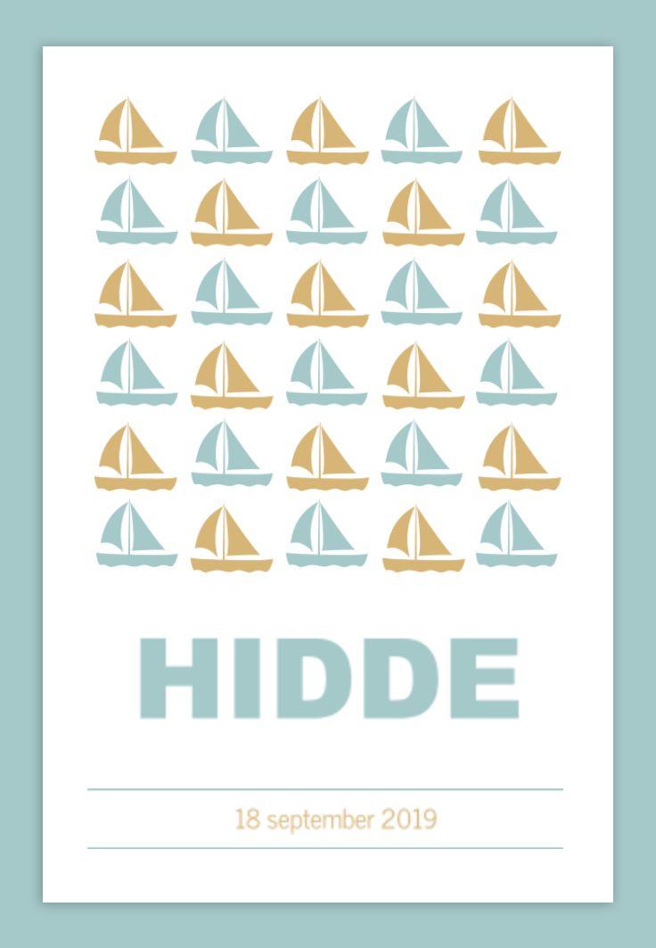 Geboortekaartje met silhouetten van zeilboten in hele toffe kleuren! Wat vind jij? #geboortekaartje #silhouet #zeilboot