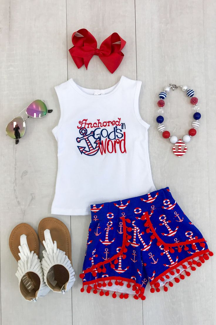 """Anchored In God's Word"" Pom Pom Shorts"