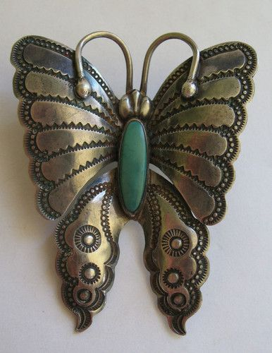 Vintage Navajo Silver & Turquoise Butterfly Pin