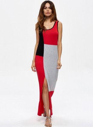 Bawełna Blok Kolorów Bez rękawów Maxi Nieformalny Sukienki