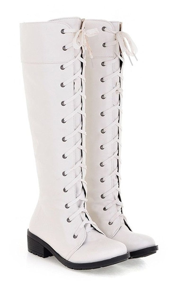 AmazonSmile | Popuus Women's Autumn Fall Over Knee High Combat Riding Boots | Over-the-Knee
