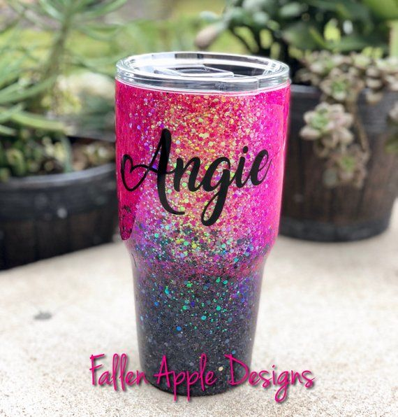 b4f92edc672 Hot Pink to Black Glitter Ombré Personalized Tumbler- YETI- Stemless ...