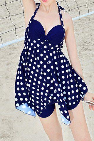 Fashionable Polka Dot Ruffled Two-Piece Swimsuit For Women