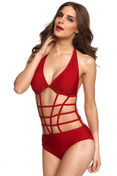 Stylish Sexy Women's One Piece Grid Halter Beach Bikini Swimwear Swimsuit.  Material: Polyester, Collar: V-neck, Pocket: No, Sleeve: Sleeveless, Style: Sexy, Zipper: No, Length: Normal Pattern: Solid, Occasion: Beach, swim, Garment Care: Hand-wash and Dry Clean, Unique style, create an illusion for stunning curves, Package Content: 1 x Women bikini