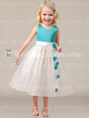 Flower Girl Dresses | Scoop satin bodice with tea length organza skirt features with flowers flowing down ethereally to complement the style. Feel fabulous in this cut flower girl dress! Bodice & Skirt each available in 60 colors, shown in Pool/Light Ivory