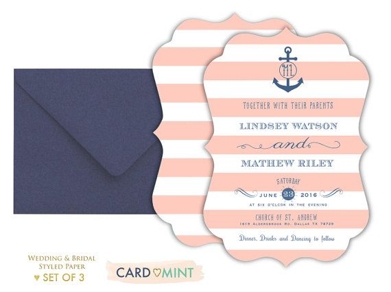 Nautical Stripped Wedding Invitations Set Package Anchor Coral and Navy Blue No122