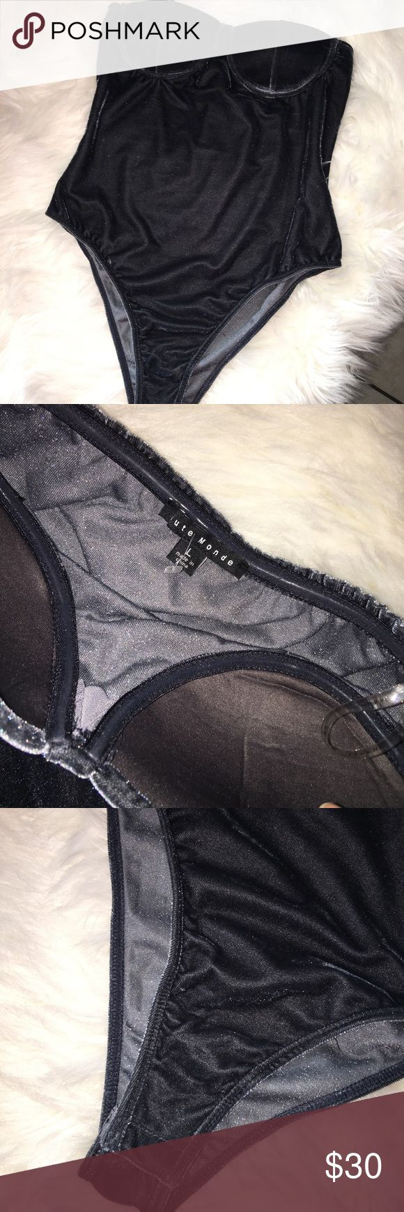 Haute monde velvet strapless bodysuit sz l fit m Haute monde strapless velvet bodysuit sz large fit medium nwot haute monde Tops Blouses