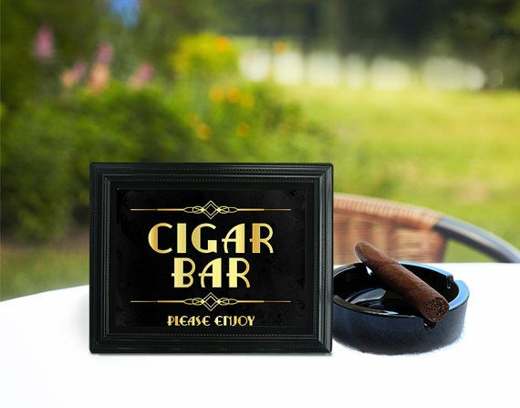 Cigar bar sign. Party like Gatsby party decoration. Art deco print. Roaring…