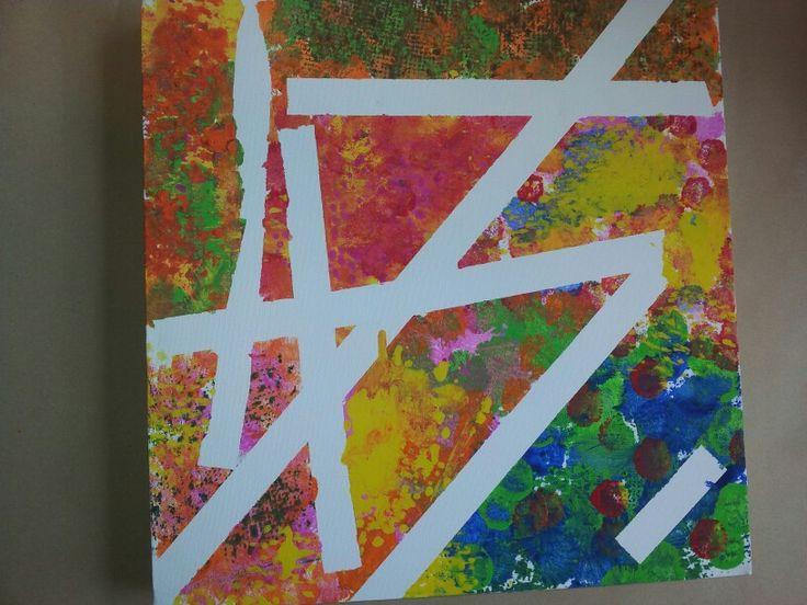 Schilderij op verschillende manieren afplakken met schilderstape.. daarna verven of tamponeren.. En tape eraf halen