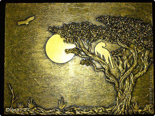 Картина панно рисунок Аппликация Лепка Панно Саванна Клей Краска Крупа Салфетки Тесто соленое фото 1