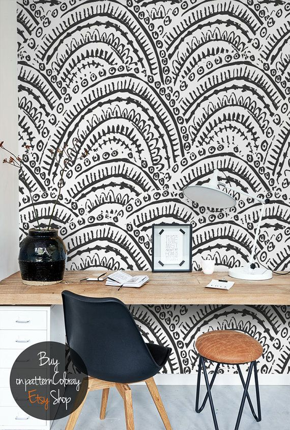Hand-drawn abstract pattern, black and white, vibrant wallpaper, self adhesive, reusable, removable wall mural #107