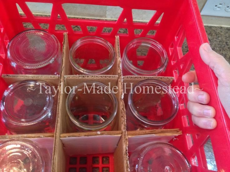 New canning jars are now sold in half boxes shrink-wrapped with plastic, I don't want to use them to store my empty jars. See what we did! #TaylorMadeHomestead - Canning Jar Storage - milk crate with cardboard dividers