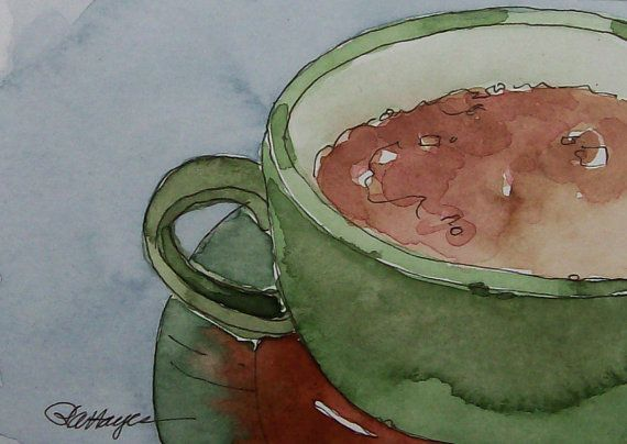 Green Coffee Cup Original Watercolor Painting ACEO by RoseAnnHayes, $19.00