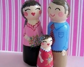 Hand Painted Love Boxes Custom Wedding Bride Groom Cake Topper Peg Doll Wood. $115.00, via Etsy.