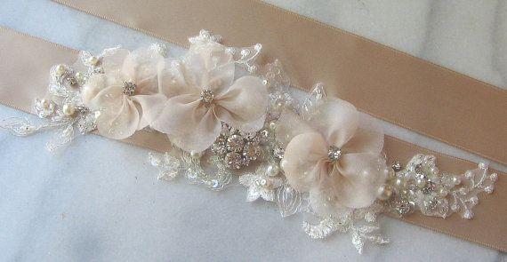 Cinturón de boda Champagne faja, faja de novia Color Beige, con pedrería, perlas, bronceado, colores personalizados - DANAE