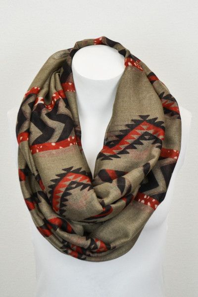 This tribal infinity scarf will catch everyone's eyes with it's amazing colors! The options are endless!