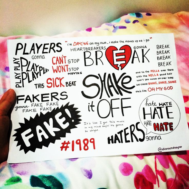 Shake It Off by Taylor Swift lyrics, hand drawn by http://allaroundtaylor.tumblr.com/.