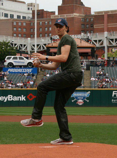 Tom Hiddleston // Where is this from? Ah, and PHEW, it's in Cleveland. Because if he was in Comerica Park in Detroit (where I've actually STOOD), and didn't TELL me about it, I might have killed him.