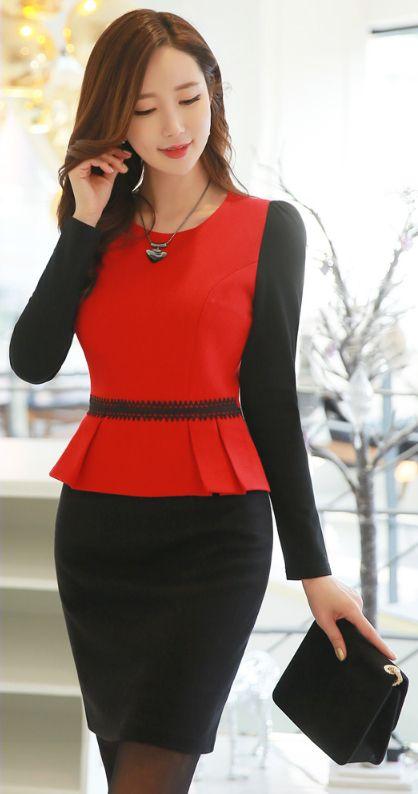 StyleOnme_Two Color Peplum Fitted Dress #red #black #peplum #elegant #feminine #dress #koreanfashion #kstyle #seoul #kfashion