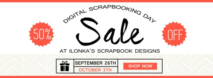 DSD Celebration Sale with Ilonka's Scrapbook Designs! Ilonka is having a Special 50% off Sale for DSD on all her products through October 3rd. DigiScrapbooking; http://www.digiscrapbooking.ch/shop/index.php?main_page=index&manufacturers_id=131&zenid=505e549644797992fb6f20f38872706b. 09/27/2016