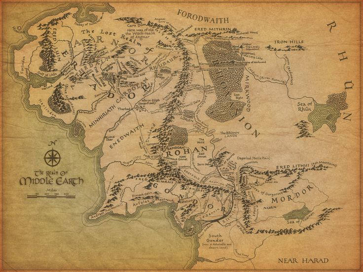 "Map of Middle Earth from ""The Lord of the Rings"""