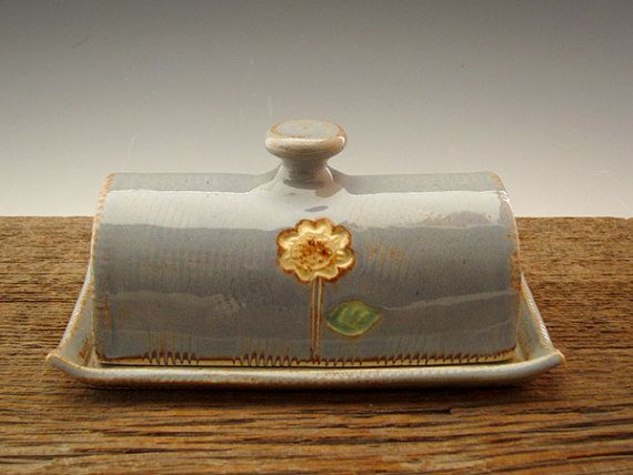 Pottery Butter Dish in Country Blue by DirtKickerPottery on Etsy