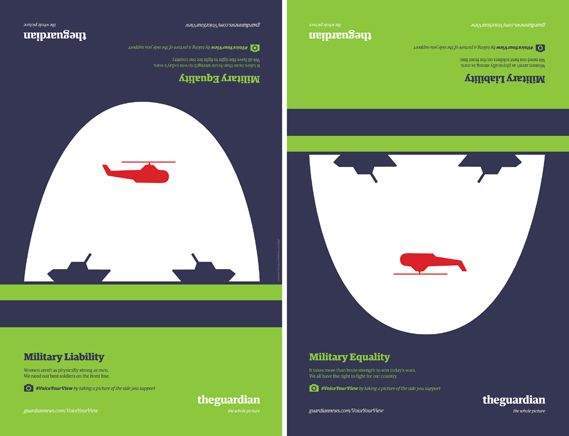 Creative Review - BBH New York/Noma Bar graphic ads show flipside of arguments for Guardian US