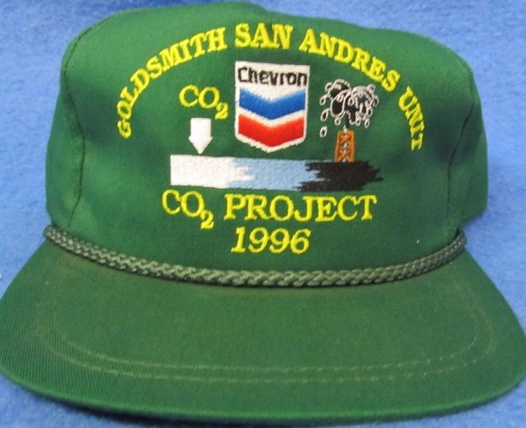 Chevron Goldsmith San Andres Unit CO2 Project 1996 Green Adjustable Hat #BaseballCap #Chevron #eBay