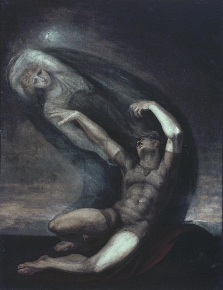 Achilles Grasps at the Shade of Patroclus - Henry Fuseli 1803 #art #classic #painting