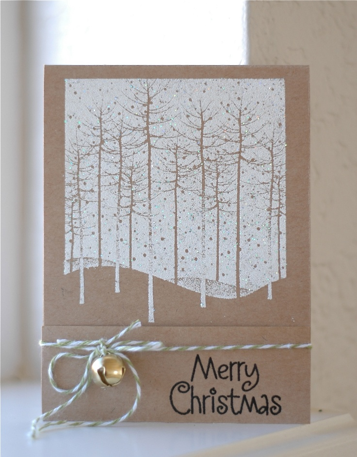 handmade card ... white stamping on Kraft ...l lovely reverse stamping design with skinny trees ... good card!! ...