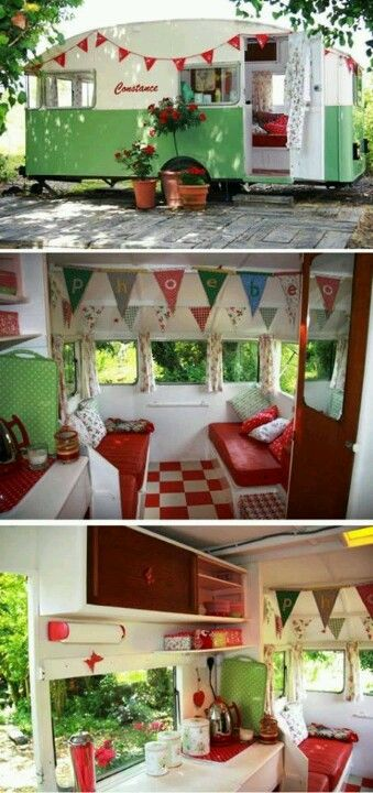 vintage camper redone. I might actually go camping if I had one of these.