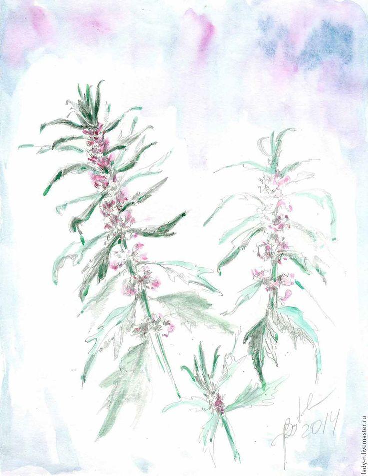 """Купить """"Пустырник поздний"""", рисунок, акварель, карандаш - тёмно-зелёный, зеленый, розовый, фиолетовый, черный"""