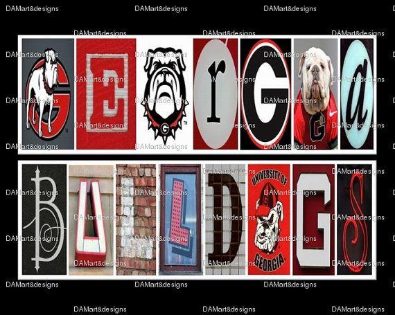 University of Georgia Bulldogs Framed Alphabet by DAMartndesign, $39.00  Boys room!!