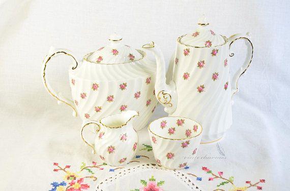 Aynsley tea set Aynsley rose buds Aynsley coffee set