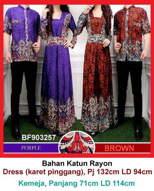 Baju Gamis Modern Terbaru - Detail produk model Gamis couple batik 57: Bahan : Katun Rayon Kode : BF903257 Ukuran : Dress fit to L, Panjang 132cm Lingkar dada 94cm Ukuran : Kemeja, Pa