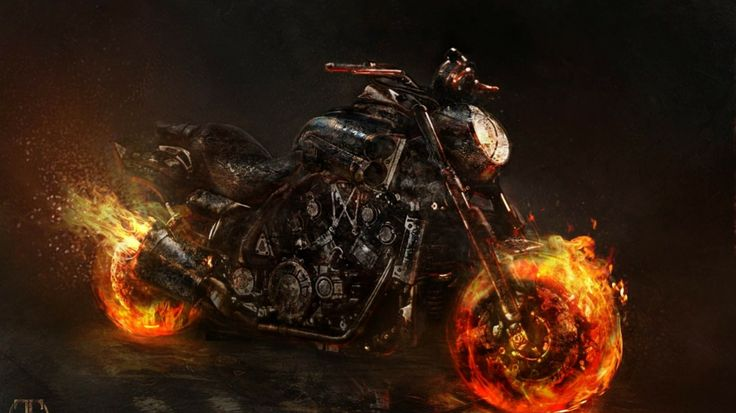 Ghost Rider Wallpaper | Bike Ghost Rider Artwork Yamaha Vmax