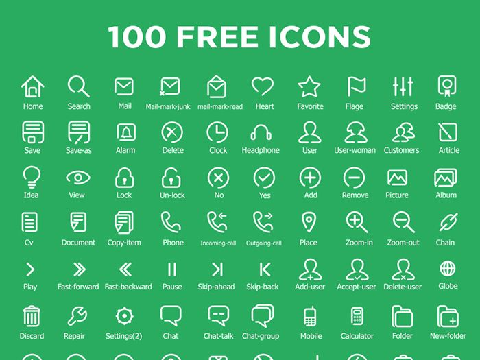 Free 100 Flat Outline Icons - http://www.vectorarea.com/free-100-flat-outline-icons
