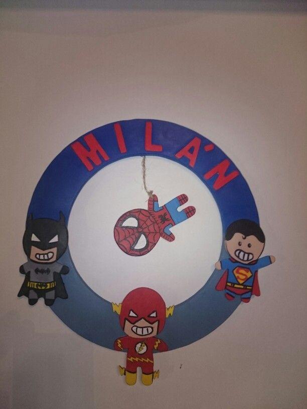 Door hanger with superheros