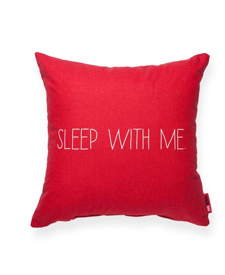 Sleep with Me Red Throw Pillow