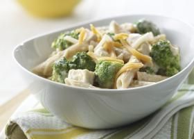 SNLP Chic' Penne 8 p+ This whole-wheat pasta dish is bright and fun with fresh broccoli, chicken, and melted cheese that is sure to please.