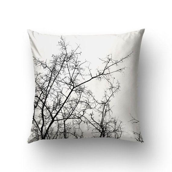 Branches Pillow Black White Decor Throw Pillows by Macrografiks