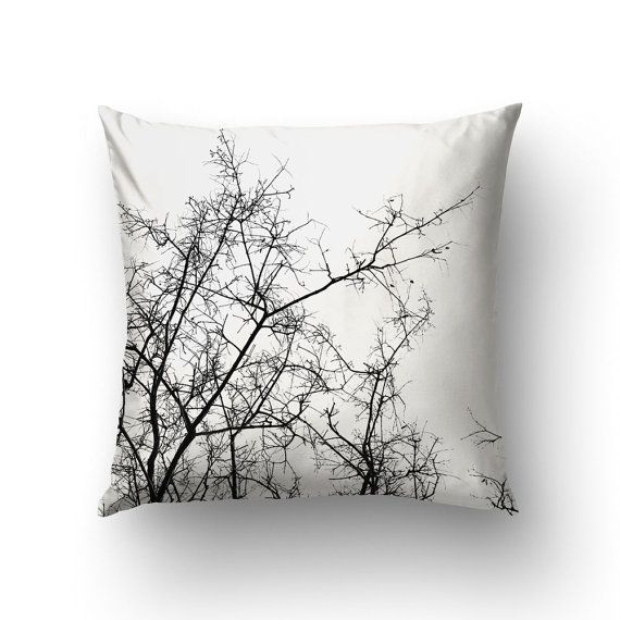 Branches Pillow Black White Decor Throw Pillows by Macrografiks