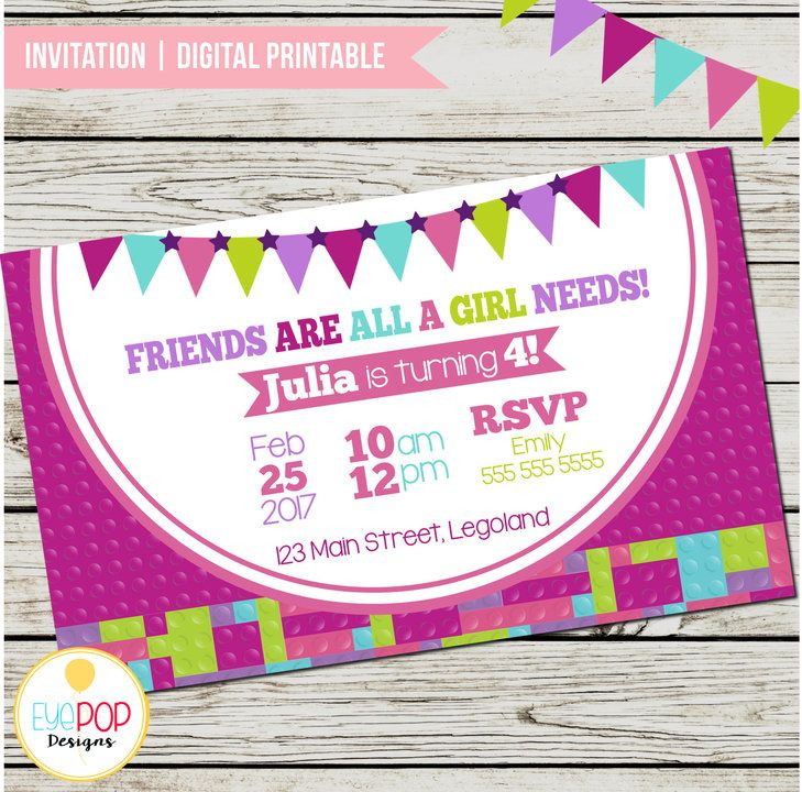 LEGO FRIENDS INSPIRED, Blocks, Party Printable Pack, Invitation, Welcome Sign, Banner, Cupcake Toppers, Favour Tags, Buffet Tent Cards by EyePop Designs